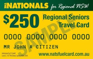 Regional seniors travel card